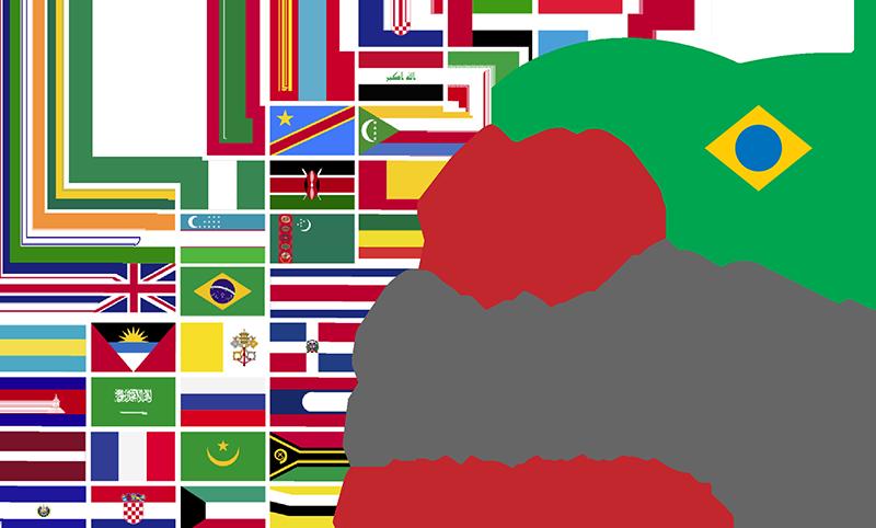 Arco feito de bandeiras de vários países terinando na bandeira brasileira sobre as palavras décimo primeiro Congresso Internacional da Abrates